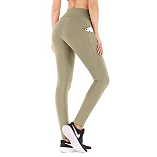 IUGA High Waist Yoga Pants with Pockets, Tummy Control, Workout Pants for Women 4 Way Stretch Yoga Leggings with Pockets (Olive, X-Small)