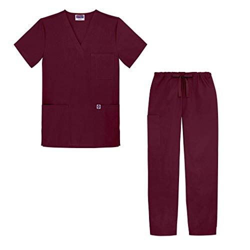 (Sivvan Unisex Classic Scrub Set V-neck Top / Drawstring Pants (Available in 12 Solid Colors) - S8400 - Burgundy - 5X)
