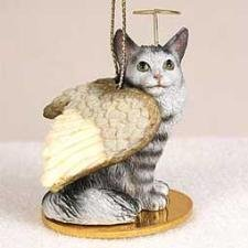 Maine Coon Ornament Tiny Angel Silver Maine Coone Cat Figurine