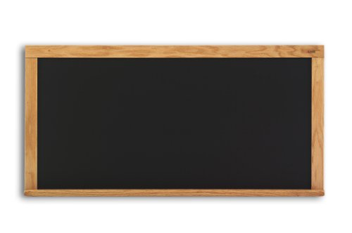 Marsh Pro-Lite 48''x48''Black Porcelain Chalkboard, Red Oak Wood Trim / 2'' Map Rail by Marsh