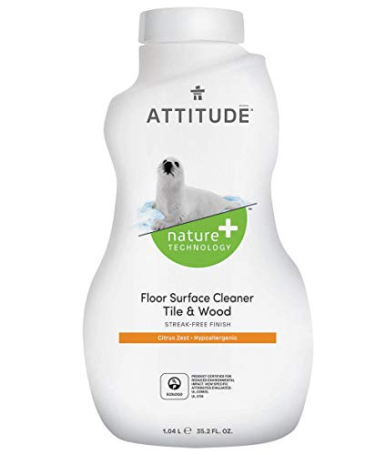 ATTITUDE Nature +, Hypoallergenic Floor Surface Cleaner, Tile & Wood, Citrus Zest, 35.2 Fluid Ounce