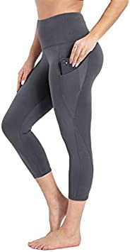 HIGHDAYS Yoga Pants for Women with Pocket - High Waist Capri Leggings for Workout Running Cycling Athletic Hik