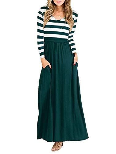 (Vabecid Casual Women Long Sleeve Striped Patchwork Tunic Vintage Maxi Dress with Pockets Belt (M,)