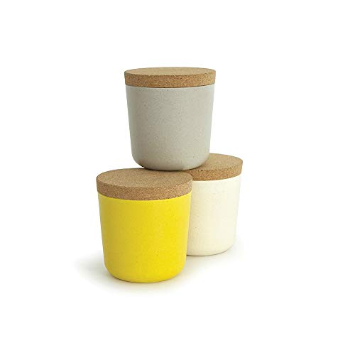 EKOBO 34727 Small Bamboo 8oz Storage Jar Set, 3 Pack, Gift Box, BIOBU Eco-Material, Ø 3 1/8 x 3 1/3'', Assorted Colors, 8 oz, Grey/White/Yellow