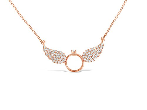 Faith Ring Necklace (Rosa Vila Faith Guardian Angel Wings Necklace - CZ Stone Filled Wings with Centered Ring Necklaces for Women (Rose Gold Tone))