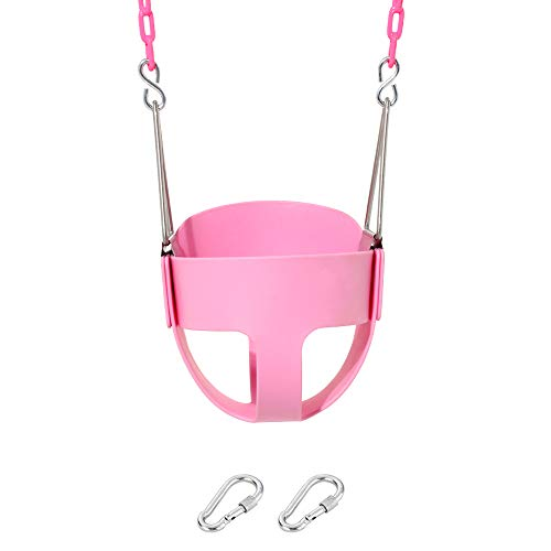 High Back Toddler Swing - Take Me Away Pink Swing Seat - Toddler High Back Full Bucket Swing - with Plastisol Coated Chains - Swing Set Accessories