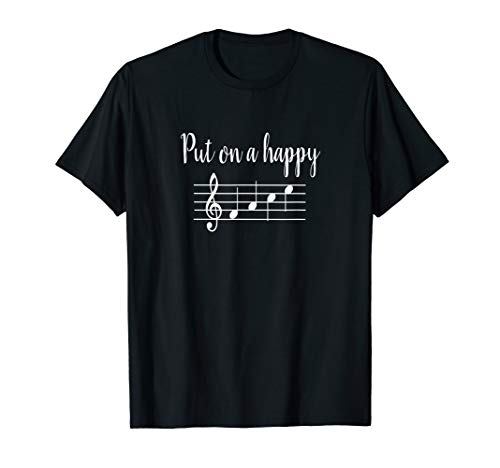 Happy T-shirt Face - Put On a Happy Face Music Notes T-Shirt