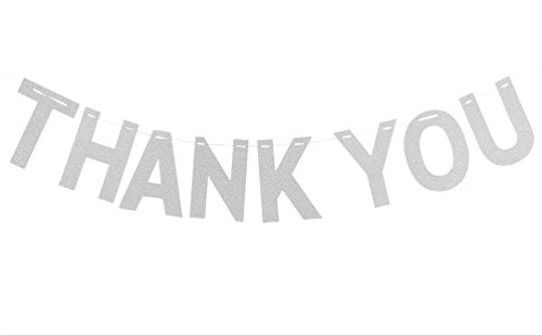 Thank You Banner (INNORU Thank You Banner Silver - Wedding Bunting Photo Booth Props Anniversary Bridal Party Decoration)
