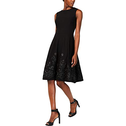 Calvin Klein Women's Sleeveless Floral Embroidered Fit and Flare Dress, Black, 4