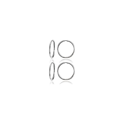 1ffb44e29 14K White Gold Tiny Small Endless 10mm Round Thin Lightweight Unisex Hoop  Earrings, Set of 2 Pairs - Buy Online in Oman. | Jewelry Products in Oman -  See ...