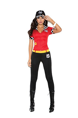Easy Inexpensive Halloween Costumes For Adults (Sexy Race Car Driver Halloween Costume Roleplay Costume 3pc Set (M, Red/Black))