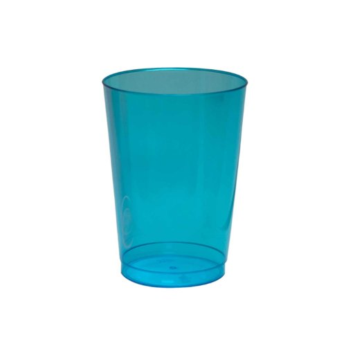 Party Essentials Hard Plastic 10-Ounce Party Cups and Tall Tumblers, Neon Blue, 25-Count