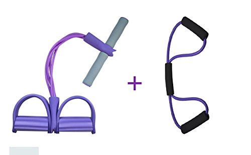 Do4U Home Gym Tube Exercise Fitness Expander Gym Bands Workout Yoga Latex Plastic Handle (Purple Unremovable)