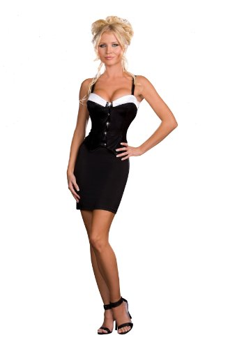 Dreamgirl Gloss knit fabric with slight stretch tuxedo style corset with rhinestone button details. Includes removable, adjustable shoulder straps Size (Tuxedo Costumes Bustier)