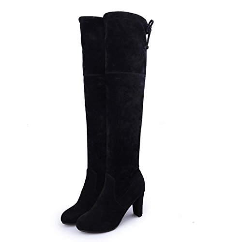 Ama (tm) Women Stretch Faux Slim High Boots Over Knee Boots Scarpe Con Tacco Nero