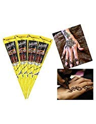 India Painting Tattoo Paste Cone,4 Tube Black Paste Cone Indian Body Art Painting Drawing with free Stencil