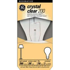 GE 16069 200 W, 3780 Lumens, A21 Medium Base, 5-3/8-Inch Crystal Clear Light Bulbs - (Pack of 12)