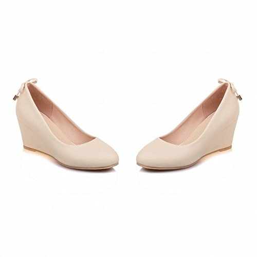 Carolbar Women's Solid Color Lovely Mid Heel Wedge Bow Court Shoes Beige 6iYDw