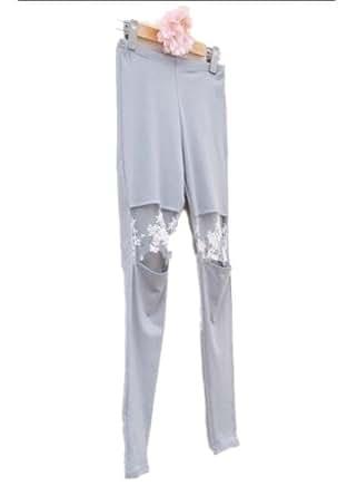 ELLAZHU Elegent Pretty Woman Knee Cut-out Lace Patch Black Grey Leggings Legwear Tights One Size(Grey)