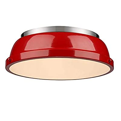 Golden Lighting 3602-14 PW-RD Duncan 14 Flush Mount in Pewter with Red Shade