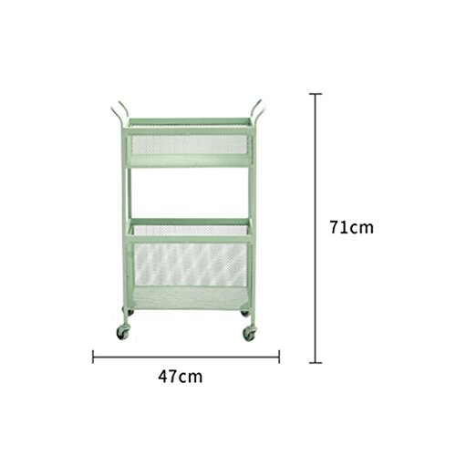 He Xiang Firm Green double store shelves trolley shelves with a pulley handrails floor shelves wrought iron racks living room storage shelves by He Xiang Firm (Image #5)