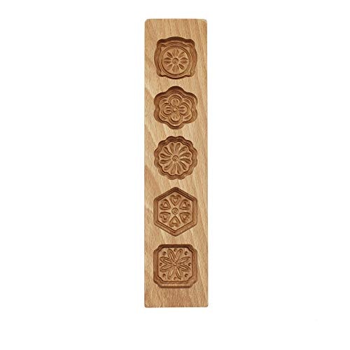 "leoyoubei 5 Flower Environmental Wooden Muffin And Mooncake Cups Handmade Soap Molds Biscuit Chocolate Ice Cake candy - Baking Decoration Cutter Mold 12.5"" Wood color"