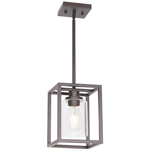 VINLUZ Single Modern Glass Pendant Light Metal Classic Oil Rubbed Bronze with Clear Glass Shade Fixture for Foyer Kitchen Entryway Dining Room Classic Bronze Foyer Pendant