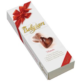 Belgian 7 Chocolate Hearts Box 65g (5-pack)