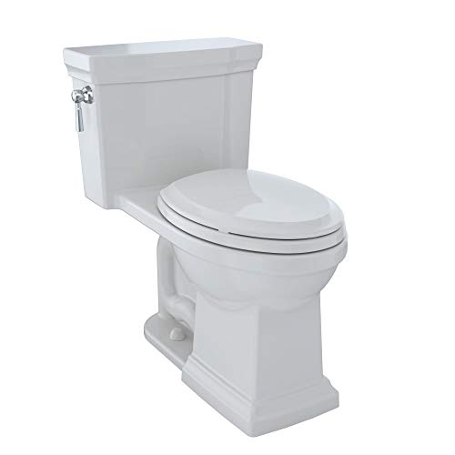 TOTO MS814224CEFG#11 Promenade II One-Piece Elongated 1.28 GPF Universal Height Toilet with CeFiONtect, 28.5 x 16.2 x 29.2 inches, Colonial White
