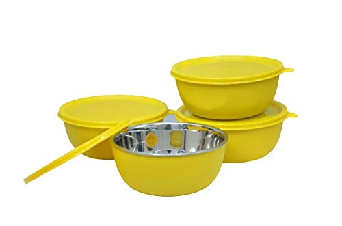 LEOPINE Microwave Safe Stainless Steel Plastic Coated Yellow Bowl Set of 4  13 cm Each