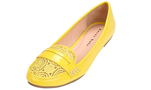 Feversole Round Ballet Flat Fashion LACE Toe Women's YELLOW rf1qzxwrn