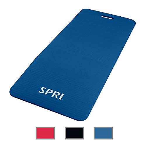 """SPRI Exercise Mat for Fitness, Yoga, Pilates, Stretching & Floor Exercises, Blue, 48"""" L x 20"""" W x 1/2-Inch Thick"""