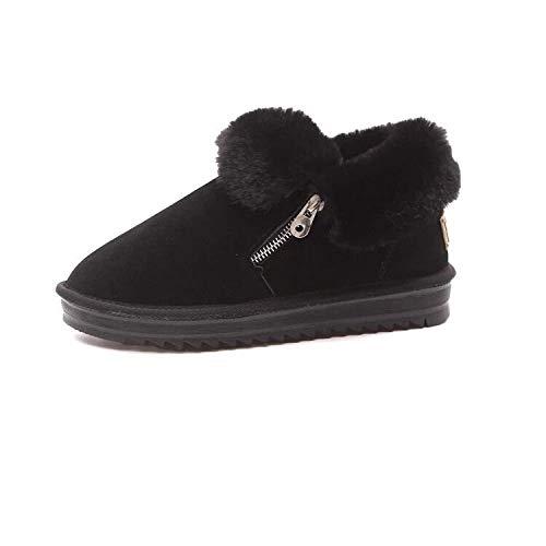 Damen Stiefel Frauen Frauen Frauen Flache Ferse Dicke untere warme Schneeschuhe schwarz 041e97