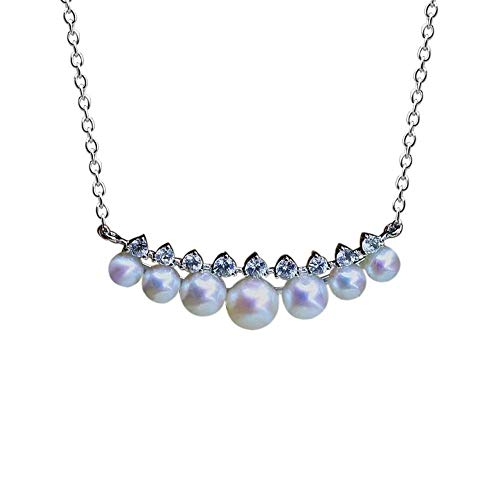 Zhiming s925 Silver Freshwater Pearl Zircon lace Necklace
