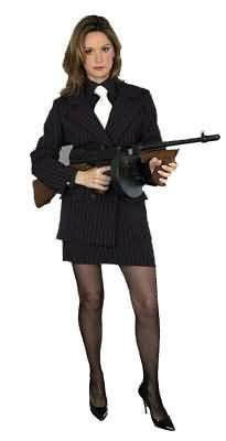 Women Large (11-13) Gangster Lady Costume (Hat, Shirt Front & Tie, Stkgs & Gun not included) (Female Gangster Costume)