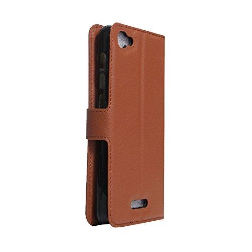 Alcatel Pixi 4 Plus caja Power Litchi Textura Horizontal Flip Funda de cuero con soporte y ranuras para tarjetas y cartera Para Alcatel Pixi 4 Plus by diebelleu ( Color : Green ) Brown