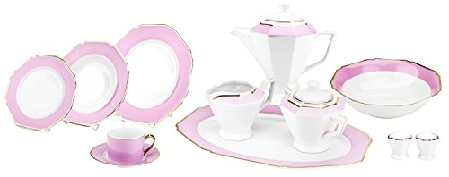 - Majestic Porcelain G1636K 49-Piece Dinner Set, Octagon-Shaped Gold-Plated Pink Accent Place Setting, White Porcelain Dinnerware Set, Service for 8