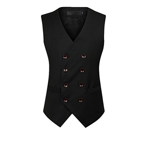 Soft Sleeveless Suit Vest Black Double Moda Zhhlaixing Blazer Tops suave Mens Breasted Formal qH6wUx