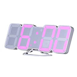 EAAGD 3D Wireless Remote Digital Wall Alarm Clock, with 115 Color Variations of LED Digital, Voice Control Mode, Remote Controller, 3 Levels of Brightness to Adjust