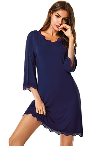 Sleepwear Women's Nightgown Cotton Nightdress 3/4 Sleeves Lace Nightshirt V Neck S Navy Blue