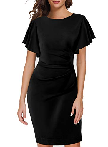 Working Dress for Women 1960s 70s Ruffle Butterfly Sleeves Horn Fitted Lady Vacation Casual Date Night Pencil Evening Cocktail Dresses 935 Black M ()