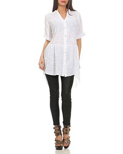 Boutonnage Chemise Manches d't Longues Patte Chemise pour Blanc ZARMEXX Courtes Chemise de Manches Femme 6xBzpWn