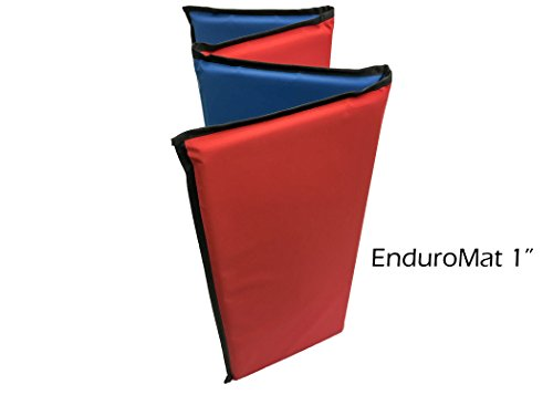 KinderMat, EnduroMat, Reinforced Vinyl, 1 Inch Thick, 48 x 24 Inches, Black Binding, Red/Blue