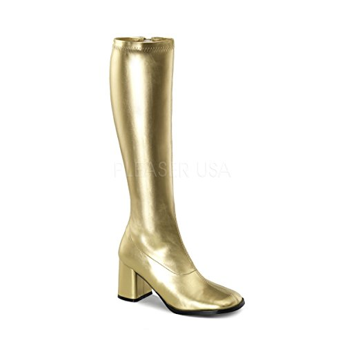 Funtasma by Pleaser Women's Gogo-300 Boot,Gold Stretch,6 -