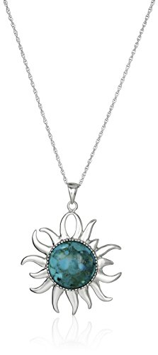 - Sterling Silver Synthetic Compressed Turquoise Sun Pendant Necklace, 18