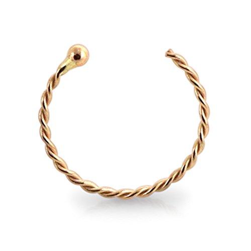 - PiercingPoint 14KT Solid Rose Gold 22 Gauge (0.6MM) - 5/16 (8MM) Length Half Nose Twister Hoop Ring Nose Jewelry