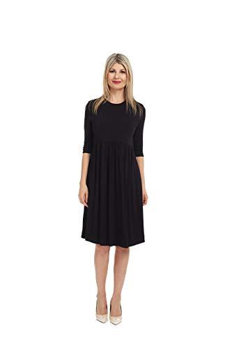 Esteez Women's Babydoll Dress Empire Waist Pleated Pockets Rachel Black X-Large