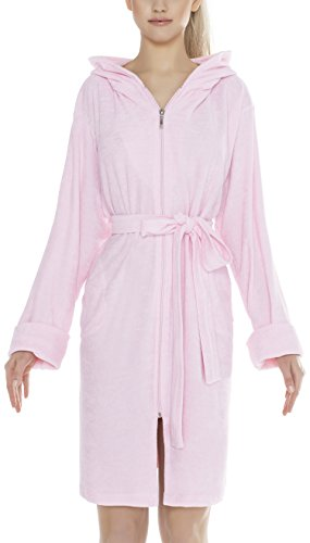 m.Lyra Damen Nachtwäsche Morgenmantel aus Baumwolle MANUELLA Übergrößen (rosa, 4XL)