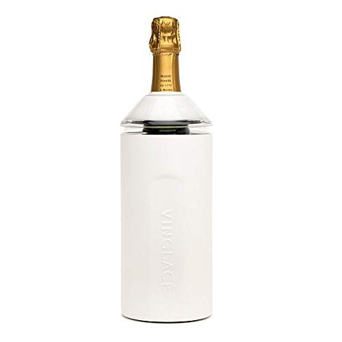 "Vinglacé Wine Bottle Insulator | Stainless Steel | Double Walled | Vacuum Insulated | Tritan Plastic Adjustable Top | Keeps Wine & Champagne Cold for Hours | 10"" x 11"" x 12"" 