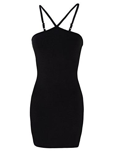 Tom's Ware Women Stylish Slim Fit Adjusted Spaghetti Strap Bodycon Tank Mini Dress